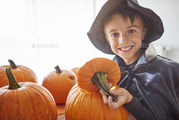 Boy and big open pumpkin - Stock Photo - Images