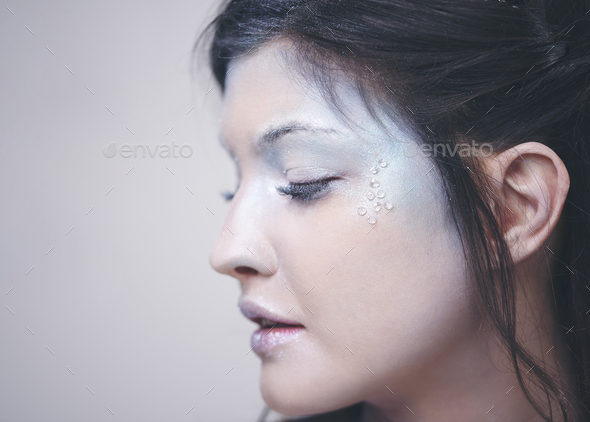 Human face in frosty makeup - Stock Photo - Images