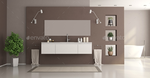 Minimalist white and brown home bathroom - Stock Photo - Images