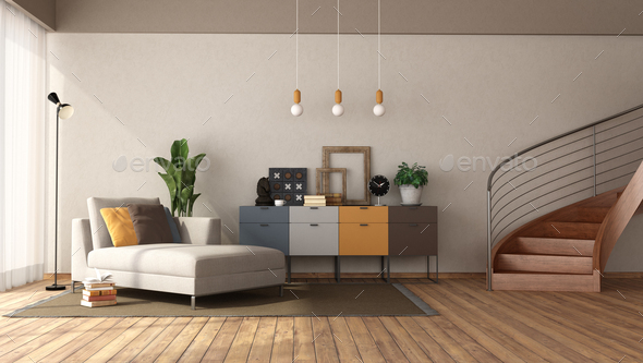 Modern living room with chaise lounge and staircase - Stock Photo - Images