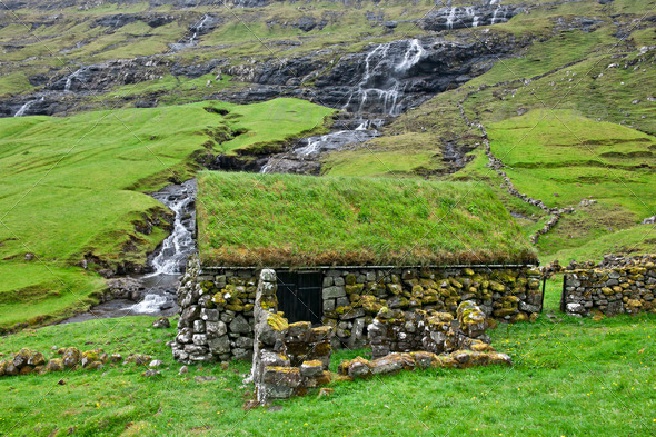Old stone house in Faroe Islands - Stock Photo - Images