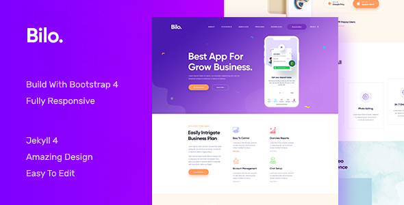 Bilo - App and Software Landing JEKYLL Template