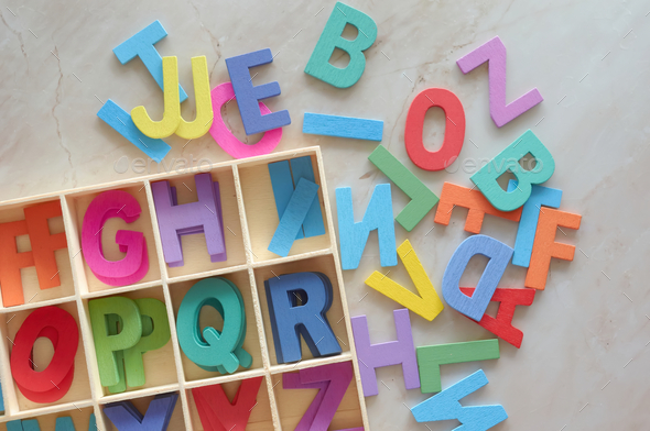 The colorful wooden alphabet toy - Stock Photo - Images