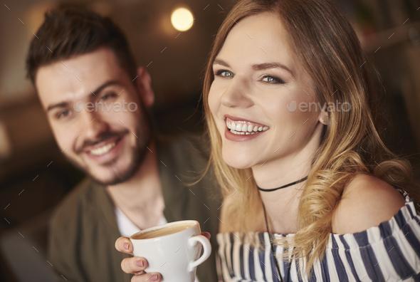 Headshot of smiley couple - Stock Photo - Images