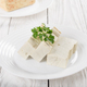 Soy Bean curd tofu on clay dish closeup. Non-dairy alternative s - PhotoDune Item for Sale