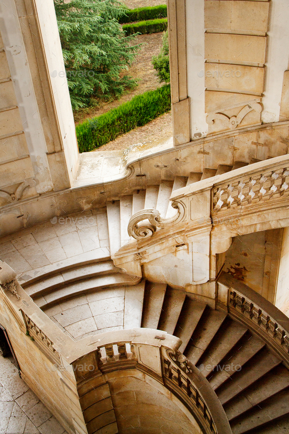 Stairs, Saint Lawrence Charterhouse Monastery in Padula - Stock Photo - Images
