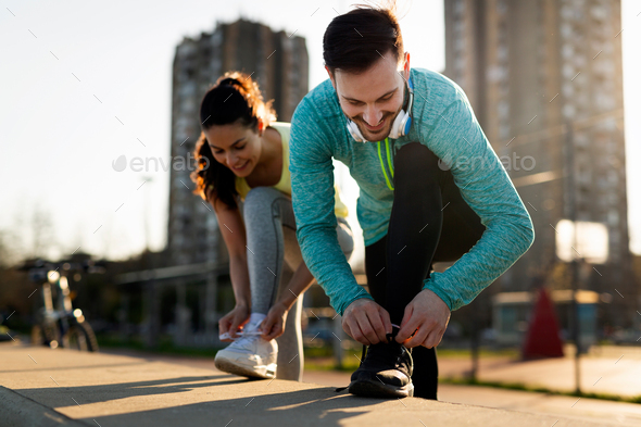 Handsome man and attractive woman talking - Stock Photo - Images