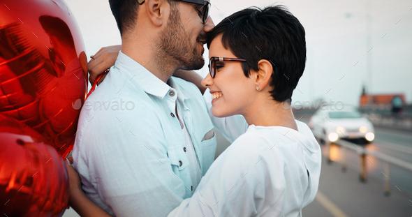 Sentimental couple in love bonding - Stock Photo - Images