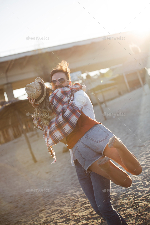 Happy couple smiling and having fun time - Stock Photo - Images