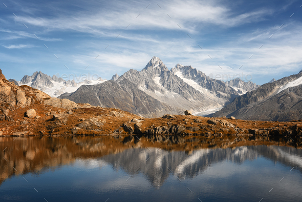 Lac de Chesery lake in France Alps - Stock Photo - Images