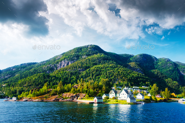 Small village in Norway - Stock Photo - Images