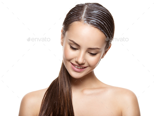Portrait of a girl with applied paint for hairs - Stock Photo - Images