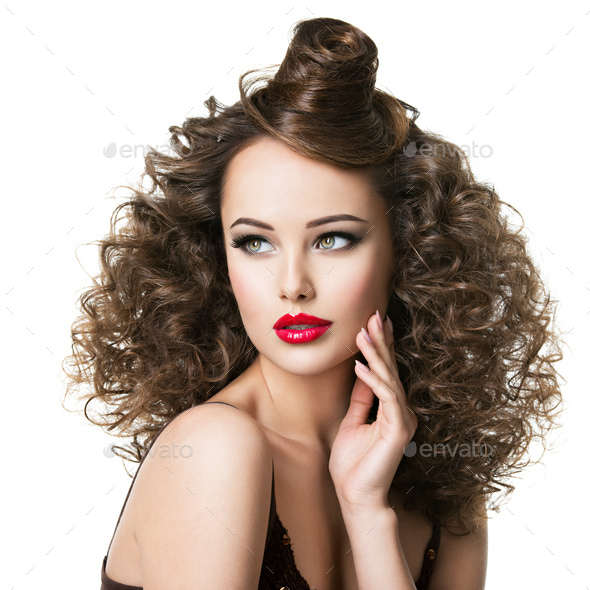 Beautiful woman with creative hairstyle. - Stock Photo - Images