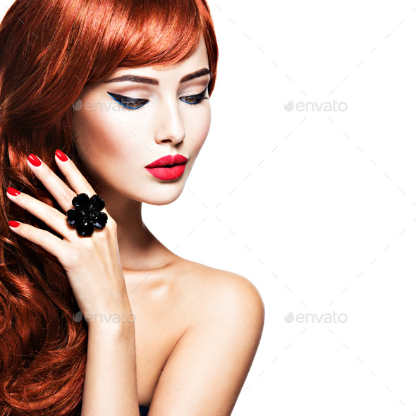 Beautiful sensual woman with long red hair. - Stock Photo - Images
