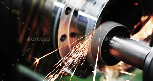 machine tool in metal factory with drilling cnc machines - Stock Photo - Images