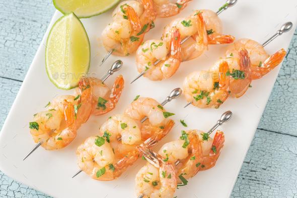 Shrimp skewers - Stock Photo - Images