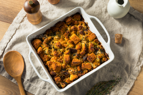 Homemade Thanksgiving Oyster Cornbread Stuffing - Stock Photo - Images