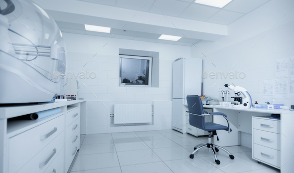High tech biochemical laboratory with modern equipment - Stock Photo - Images