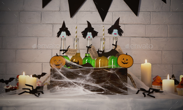Cute witches with green bodies inside box with spider web - Stock Photo - Images