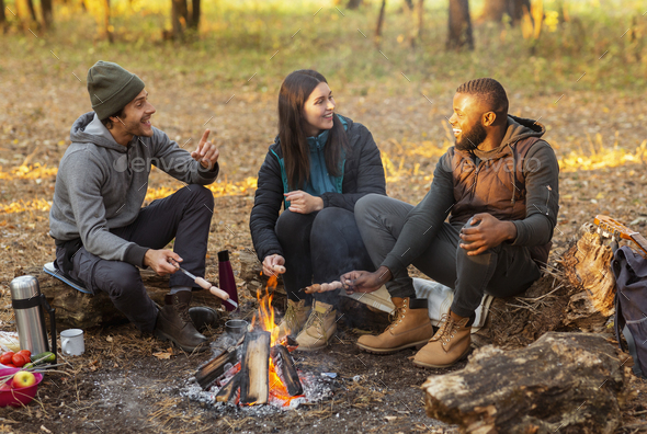 Happy friends sitting around fireplace, enjoying time together - Stock Photo - Images