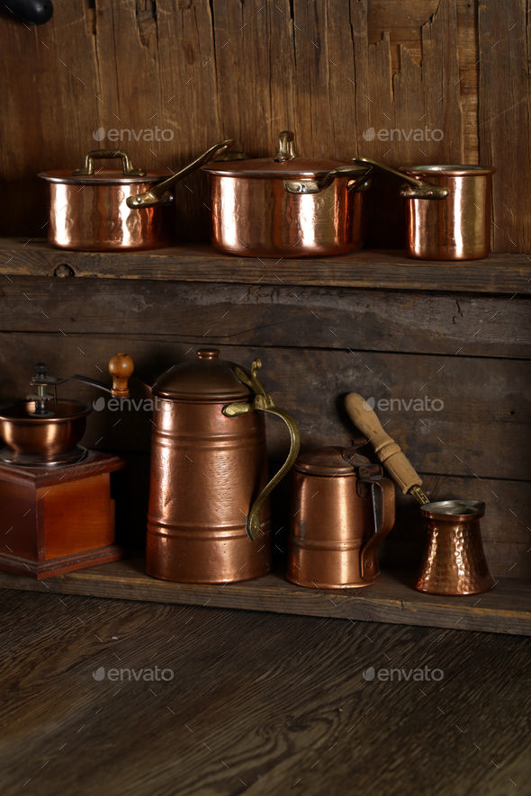 Copper Utensils, Pots, Ladle and Pan - Stock Photo - Images