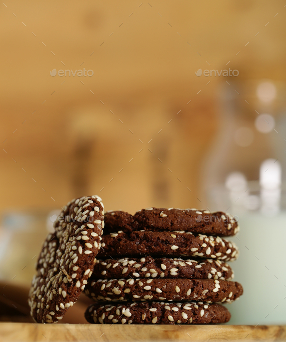 Chocolate Cookies with Milk - Stock Photo - Images