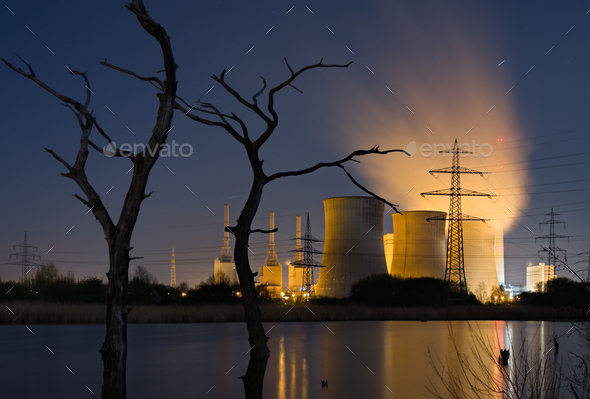 Power Station And Dead Trees - Stock Photo - Images