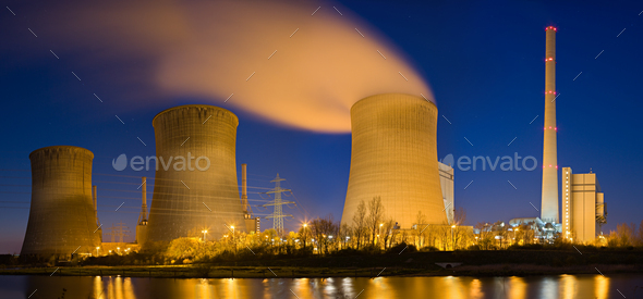 Power Station At Night Panorama - Stock Photo - Images