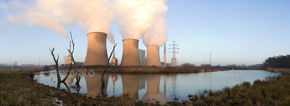 Power Station And Dead Trees Panorama - Stock Photo - Images
