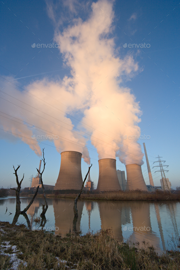 Power Plant In Flood Plain - Stock Photo - Images