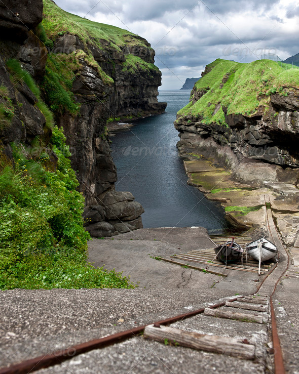 High angle view of small port in Faroe Islands - Stock Photo - Images