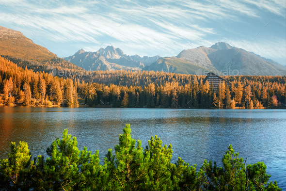 Lake Strbske pleso in autumn time - Stock Photo - Images