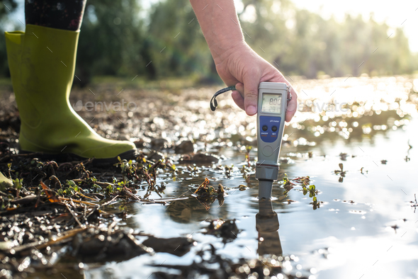 Measure water content with digital device.  PH meter. - Stock Photo - Images