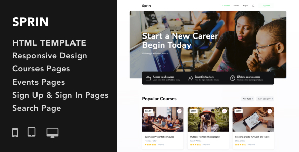 Sprin - Courses and Events HTML5 Responsive Template