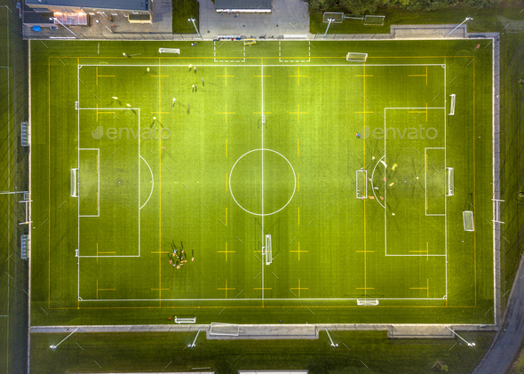 Aerial view of soccer field at night - Stock Photo - Images