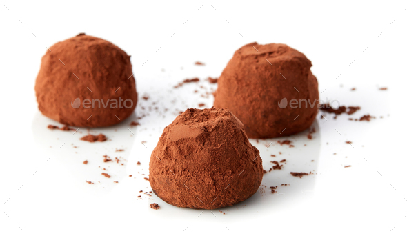 chocolate truffles covered with cocoa - Stock Photo - Images