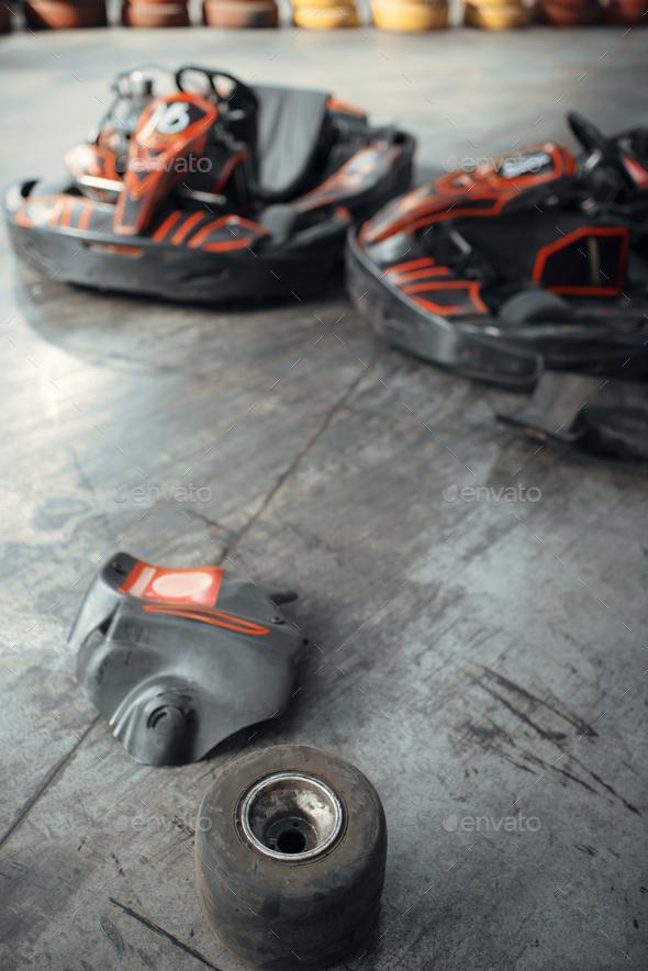 Go kart cars and damaged tires, crash, karting - Stock Photo - Images