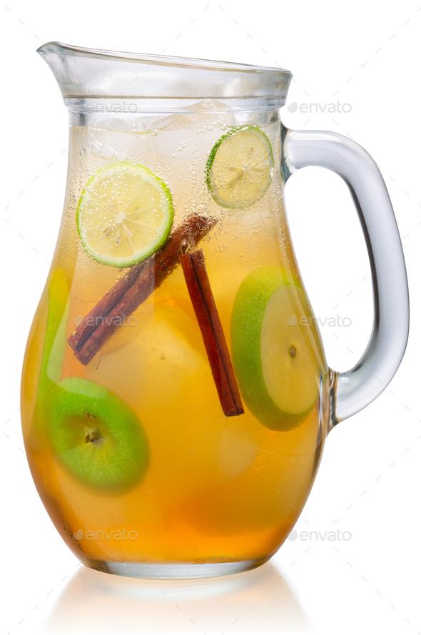 Iced apple cinnamon lemonade jug, paths - Stock Photo - Images