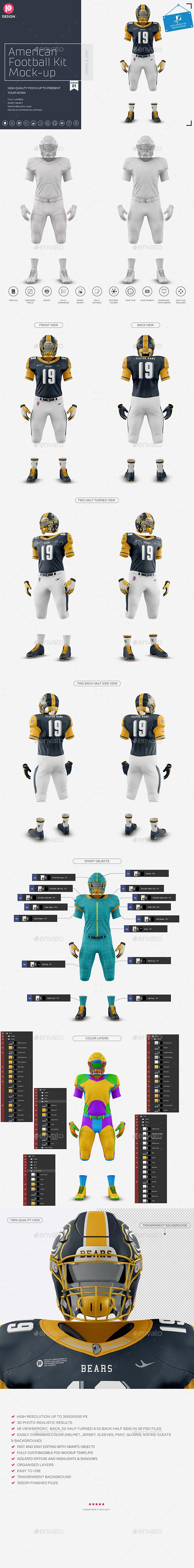Download American Football Kit Mockup V1 By Trdesignme Graphicriver Free Mockups