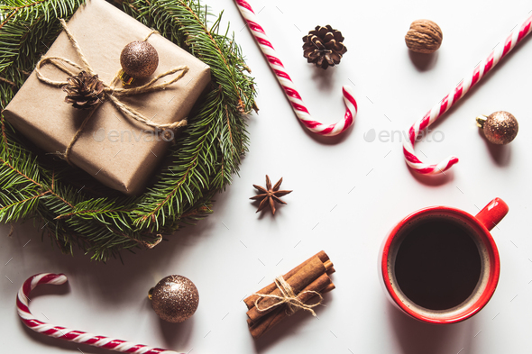 Cup of coffee with sweets for Christmas, festive mood, New Year - Stock Photo - Images