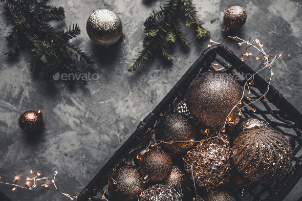 Christmas or New Year background:Christmas toys in vintage style on a gray background. New Year' - Stock Photo - Images