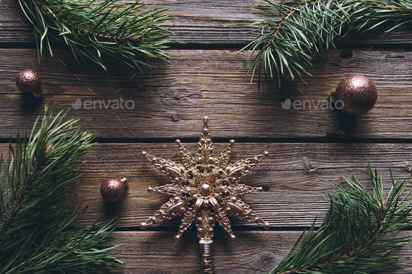 Christmas fir tree with decoration on a wooden board, Christmas, New Year - Stock Photo - Images