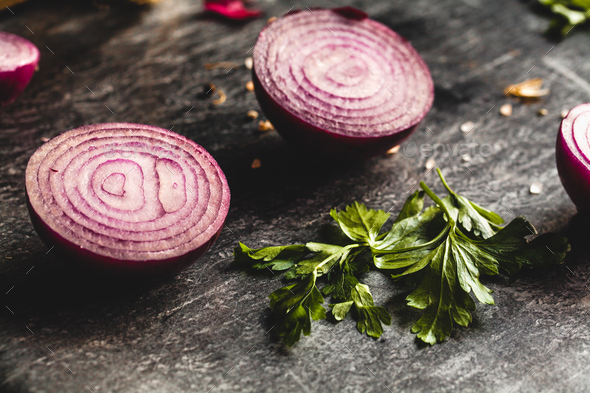 close up of sliced red onion, intended as a background image - Stock Photo - Images