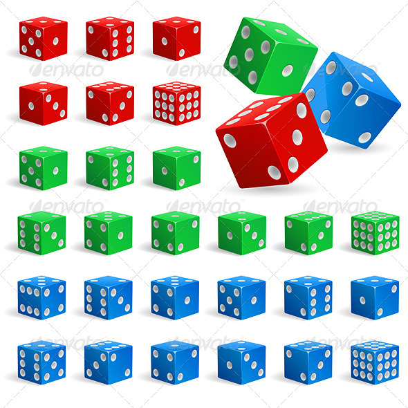 Set of realistic dice - Objects Vectors
