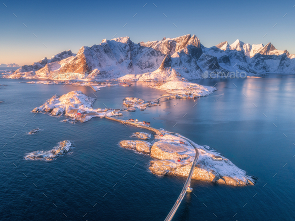 Aerial view of small islands, bridge over the sea and mountains - Stock Photo - Images