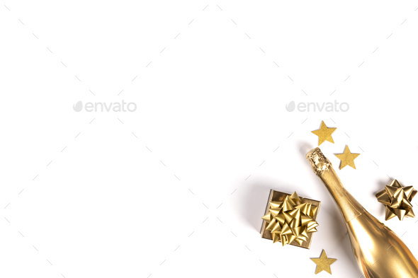 Decorated Bottle of Golden Champagne.Symbol of Christmas and New - Stock Photo - Images