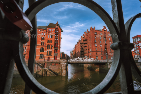 Speicherstadt warehouse district in Hamburg, Germany, Europe. Old brick buildings and channel of - Stock Photo - Images
