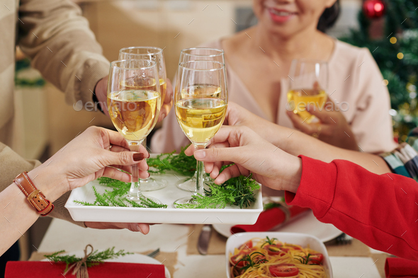 People taking champagne glasses - Stock Photo - Images