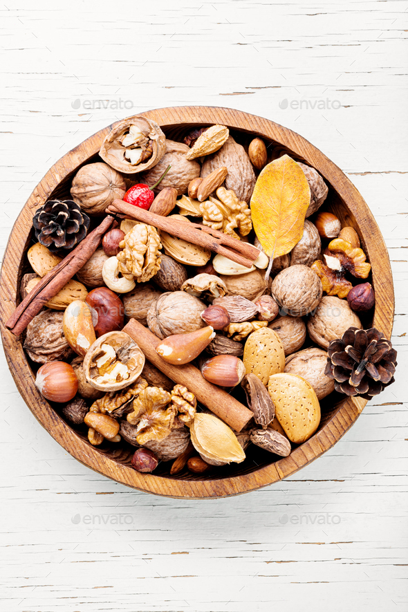 Mixed nuts in a bowl - Stock Photo - Images