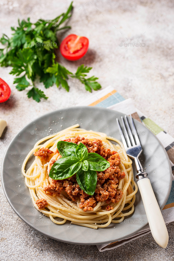 Pasta Bolognese. Spaghetti with meat sauce - Stock Photo - Images